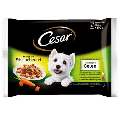 Cesar 24 x 100 g en bolsitas: Selección en salsa o en gelatina - Pack Ahorro