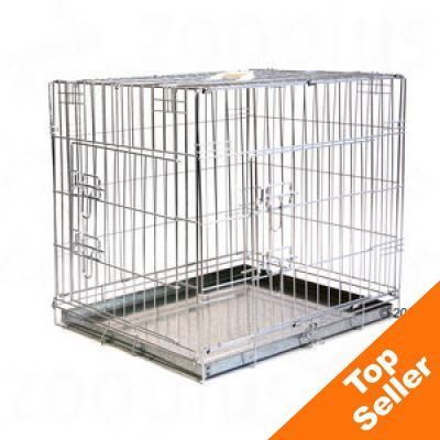 Metal dog crates great deals on dog cages dog travel at for Double door with dog door