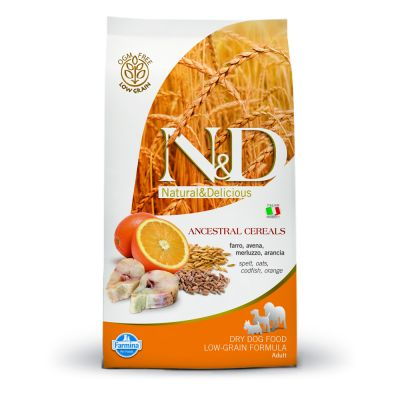 Farmina N&D Low Ancestral Grain Adult Medium con bacalao y naranja