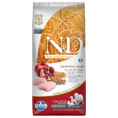 Farmina N&D Low Ancestral Grain Adult Medium con pollo y granada