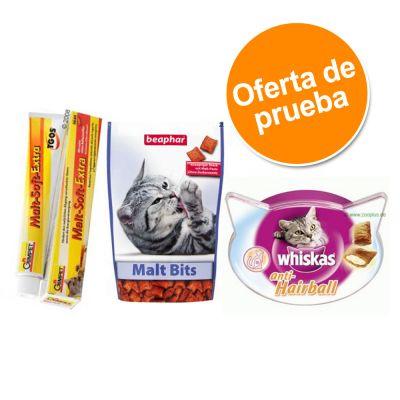 Pack mixto snacks de malta  Beaphar, Whiskas y  pasta Gimpet