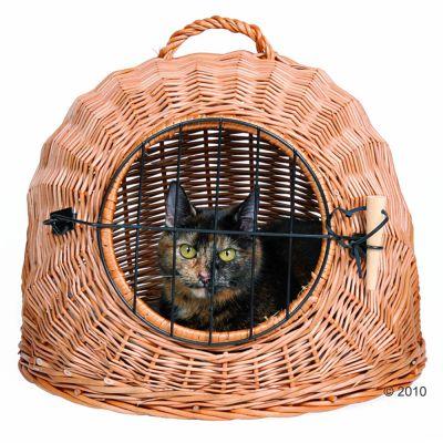panier de transport en osier naturel - cage de transport pour chat