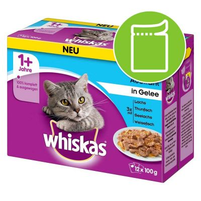 whiskas 1 fish selection in jelly free p amp p 29 at zooplus